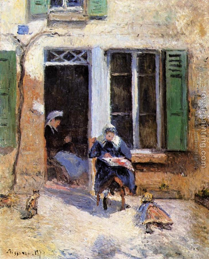Camille Pissarro : Woman and Child Doing Needlework