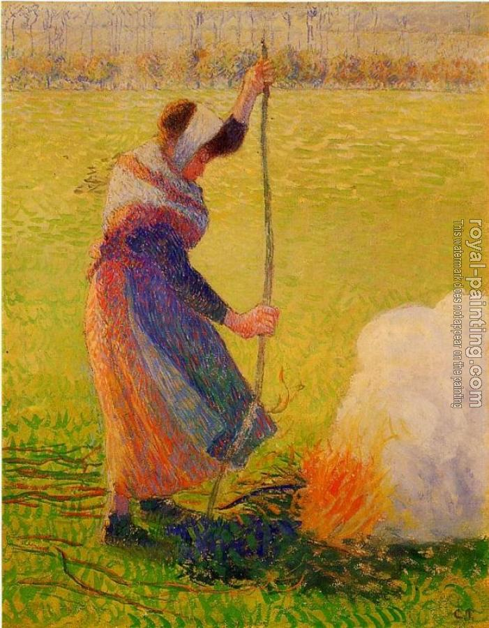 Camille Pissarro : Woman Burning Wood