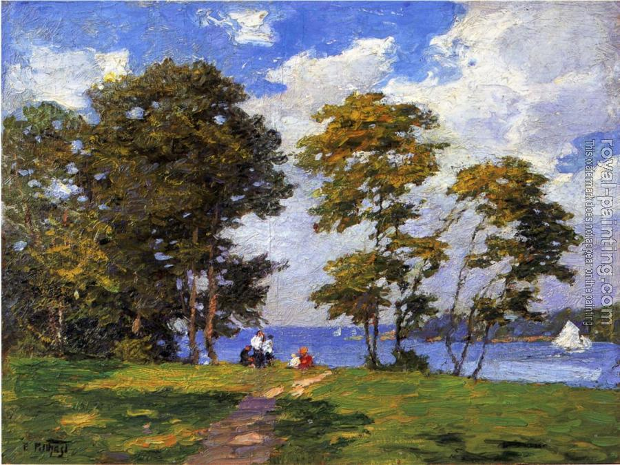 Edward Henry Potthast : Landscape by the Shore aka The Picnic
