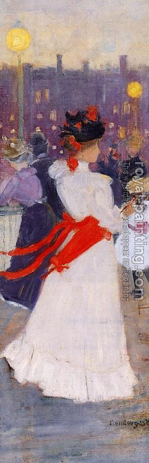 Maurice Brazil Prendergast : Lady with a Red Sash