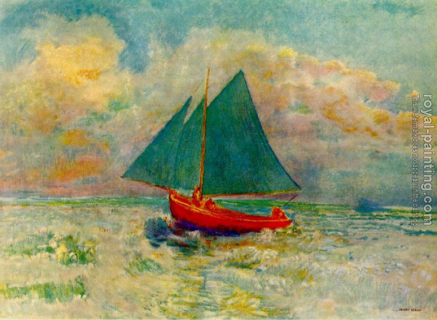 Odilon Redon : Red Boat with a Blue Sail