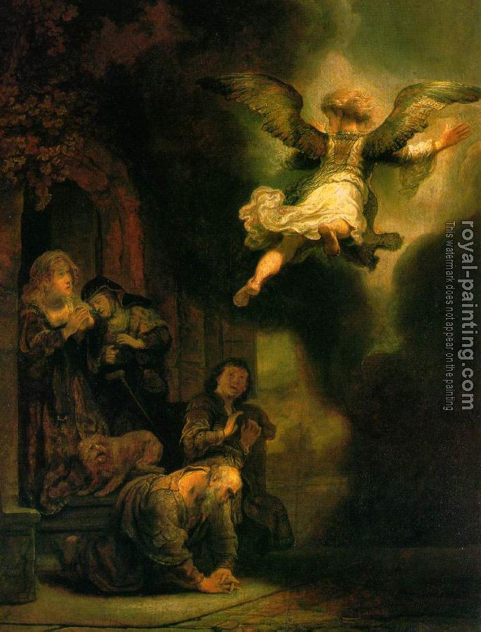 Rembrandt : The Archangel Leaving the Family of Tobias