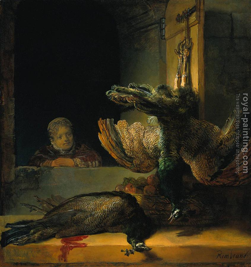 Rembrandt : Still life with two Peacocks and a Girl
