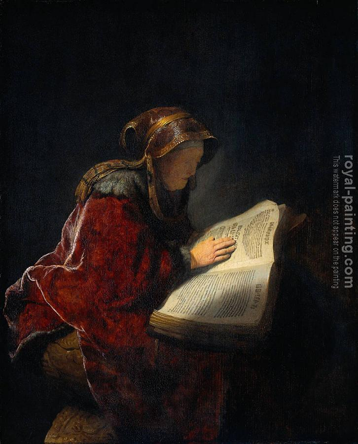 Rembrandt : The Prophetess Anna (Rembrandt's Mother)