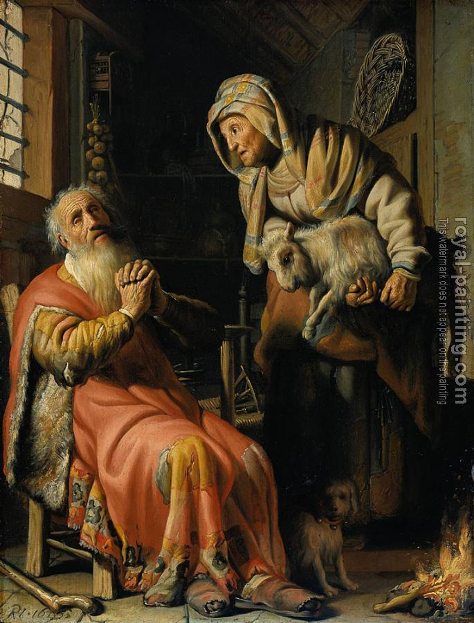 Rembrandt : Tobit and Anna with the Kid goat