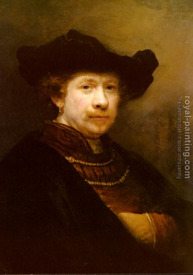 Rembrandt : Portrait Of The Artist In A Flat Cap