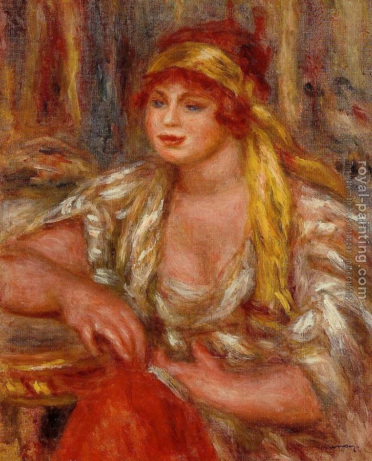 Pierre Auguste Renoir : Andree in Yellow Turban and Blue Skirt