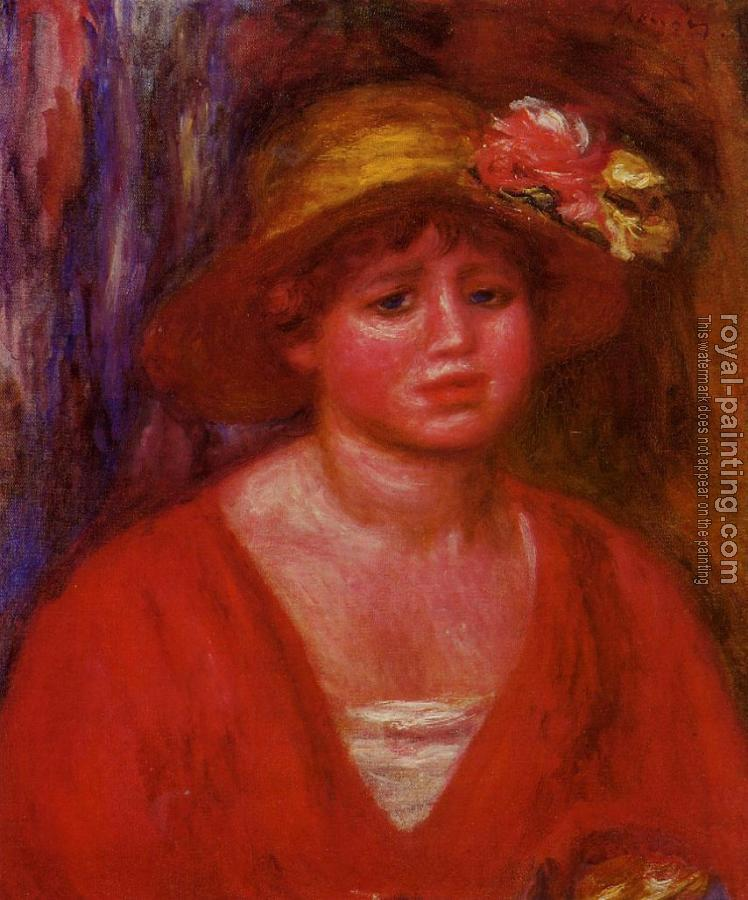 Pierre Auguste Renoir : Bust of a Young Woman in a Red Blouse