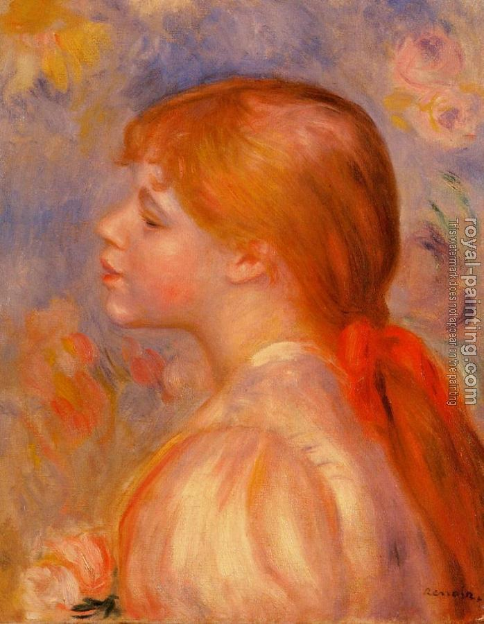 Pierre Auguste Renoir : Girl with a Red Hair Ribbon