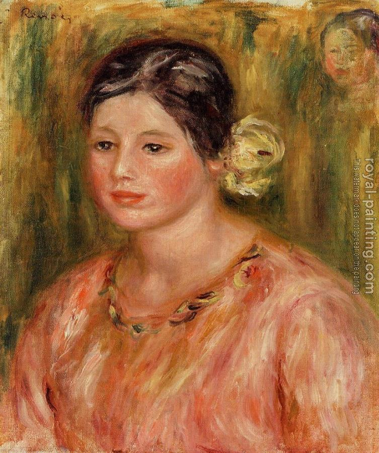 Pierre Auguste Renoir : Head of a Young Girl in Red