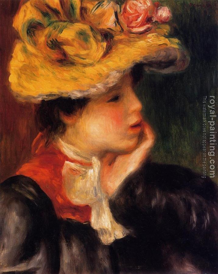 Pierre Auguste Renoir : Head of a Young Woman, Yellow Hat