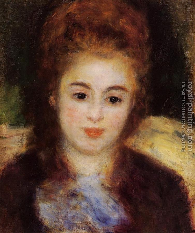 Pierre Auguste Renoir : Head of a Young Woman Wearing a Blue Scarf, Madame Henriot