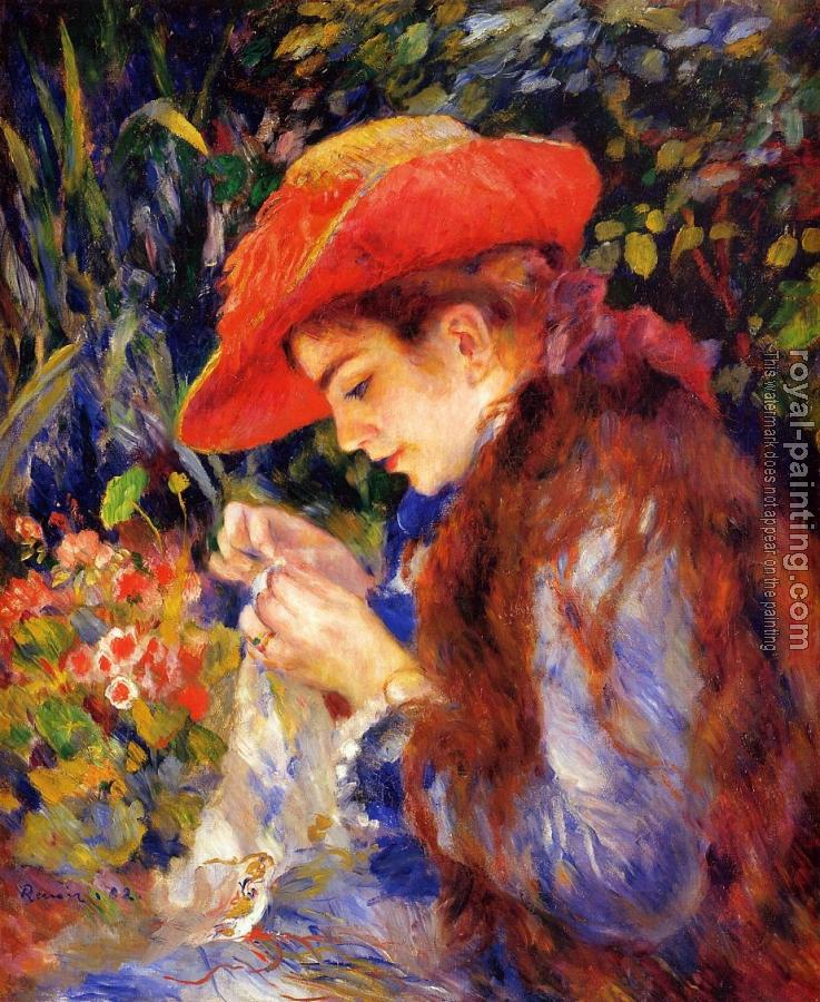 Pierre Auguste Renoir : Mademoiselle Marie-Therese Durand-Ruel Sewing