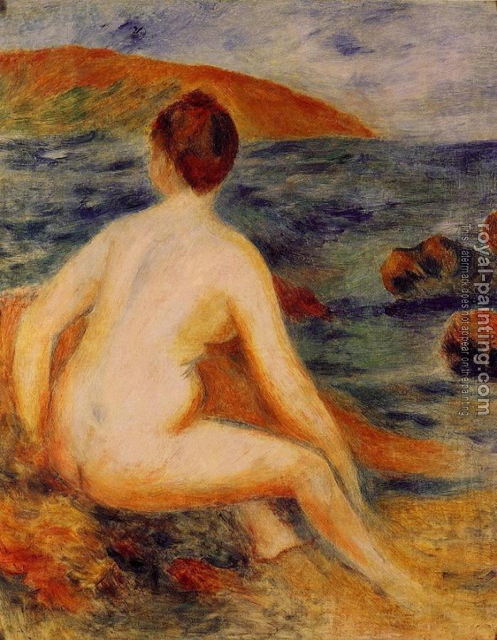Pierre Auguste Renoir : Nude Bather Seated by the Sea