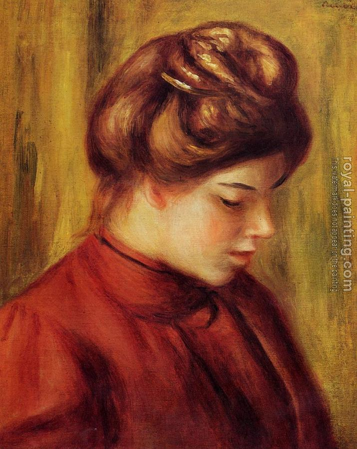 Pierre Auguste Renoir : Profile of a Woman in a Red Blouse