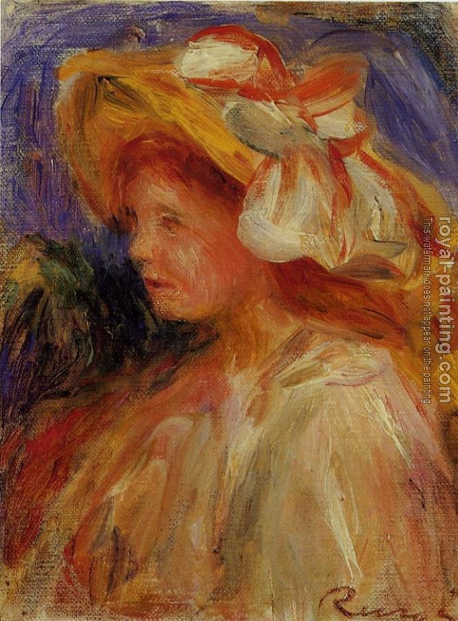 Pierre Auguste Renoir : Profile of a Young Woman in a Hat