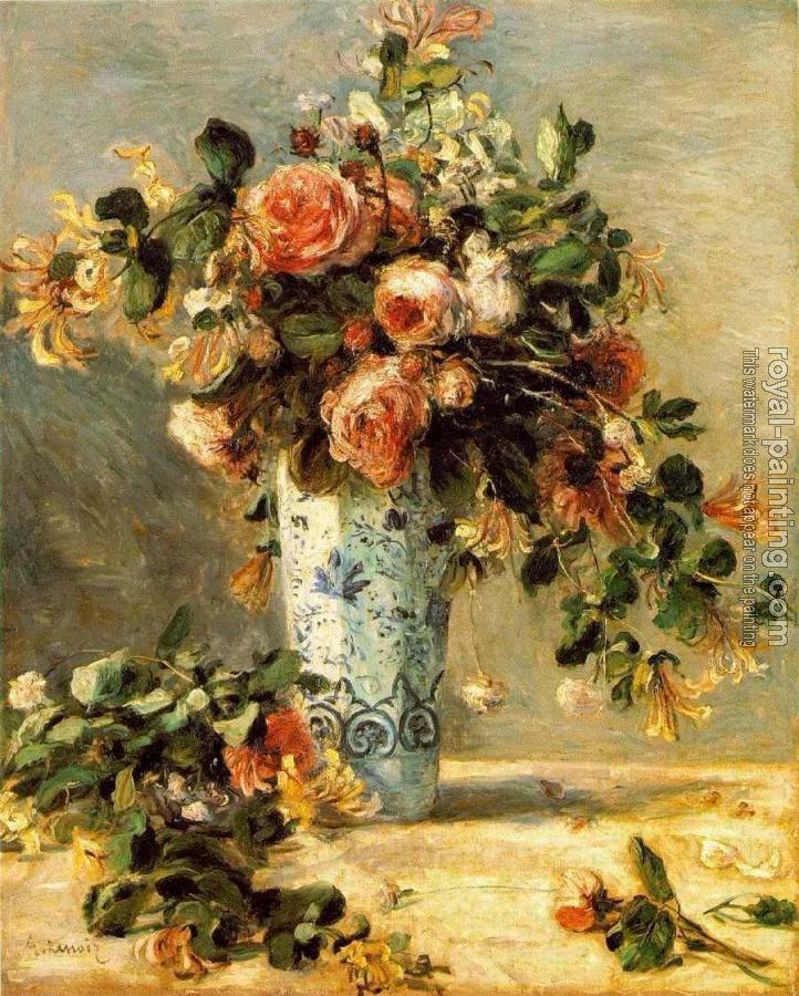 Pierre Auguste Renoir : Roses and Jasmine in a Delft Vase