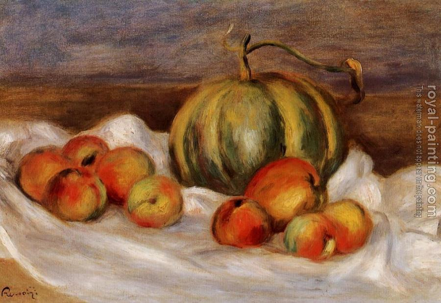 Pierre Auguste Renoir : Still Life with Cantalope and Peaches
