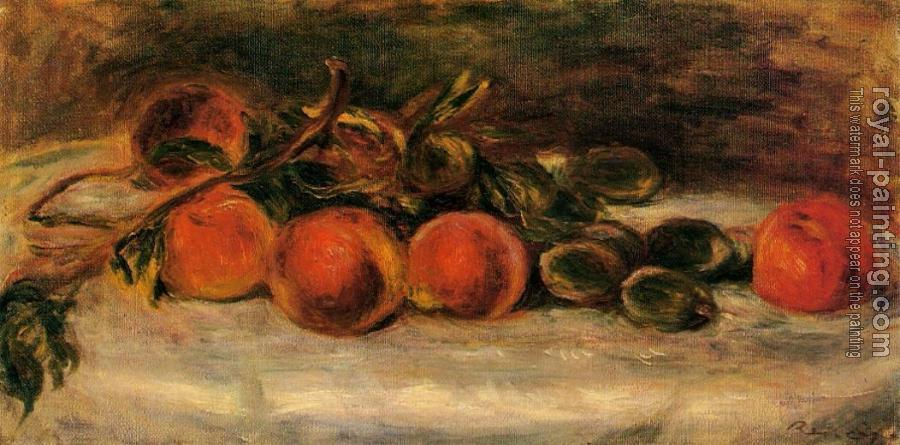 Pierre Auguste Renoir : Still Life with Peaches and Chestnuts