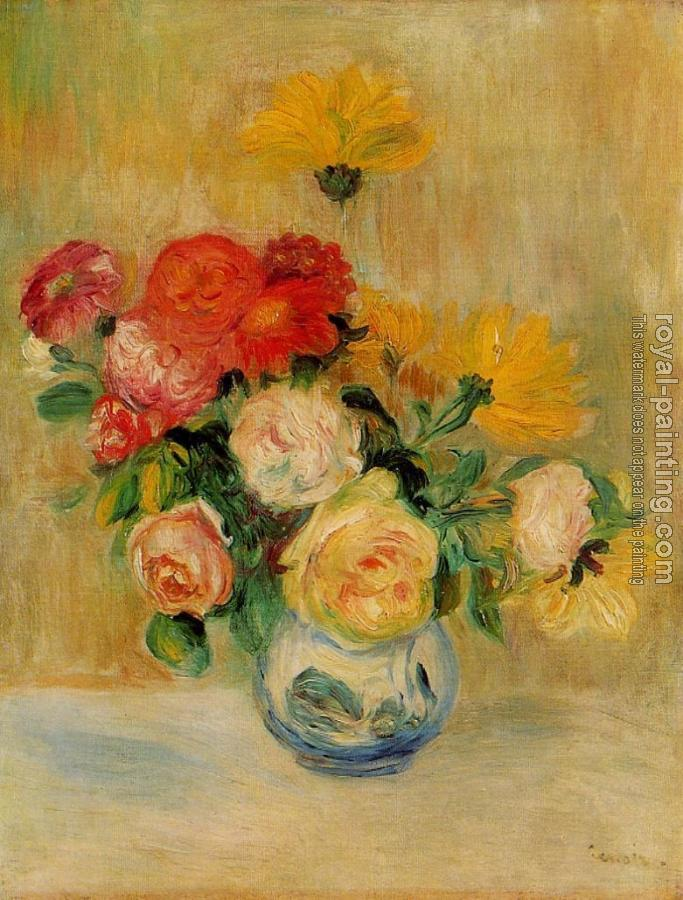 Pierre Auguste Renoir : Vase of Roses and Dahlias