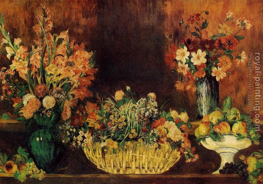 Pierre Auguste Renoir : Vase, Basket of Flowers and Fruit