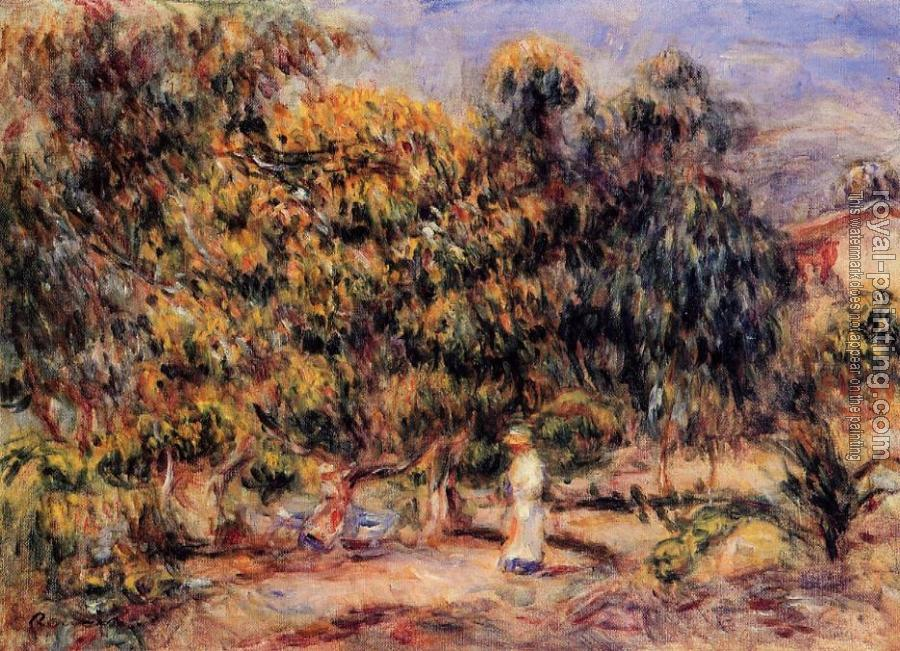 Pierre Auguste Renoir : Woman in White in the Garden at Colettes