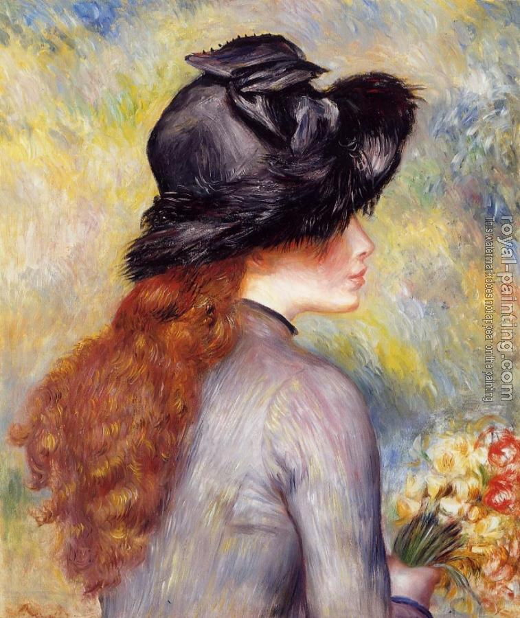 Pierre Auguste Renoir : Young Girl Holding at Bouquet of Tulips
