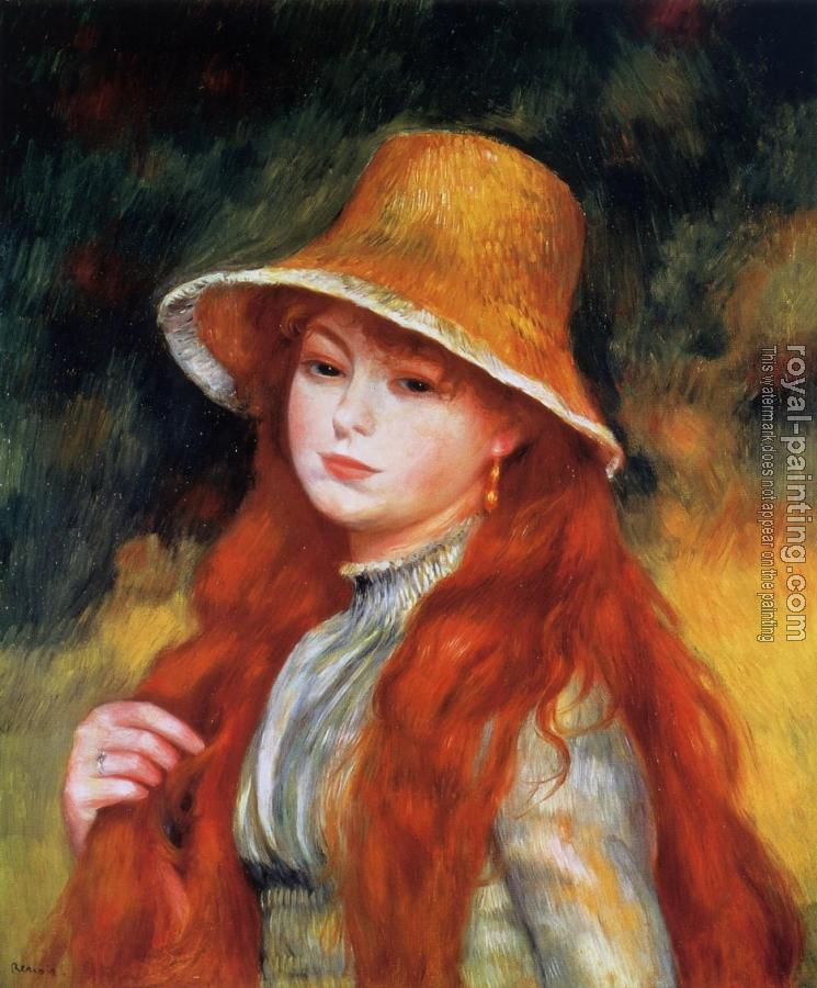 Pierre Auguste Renoir : Young Girl in a Straw Hat