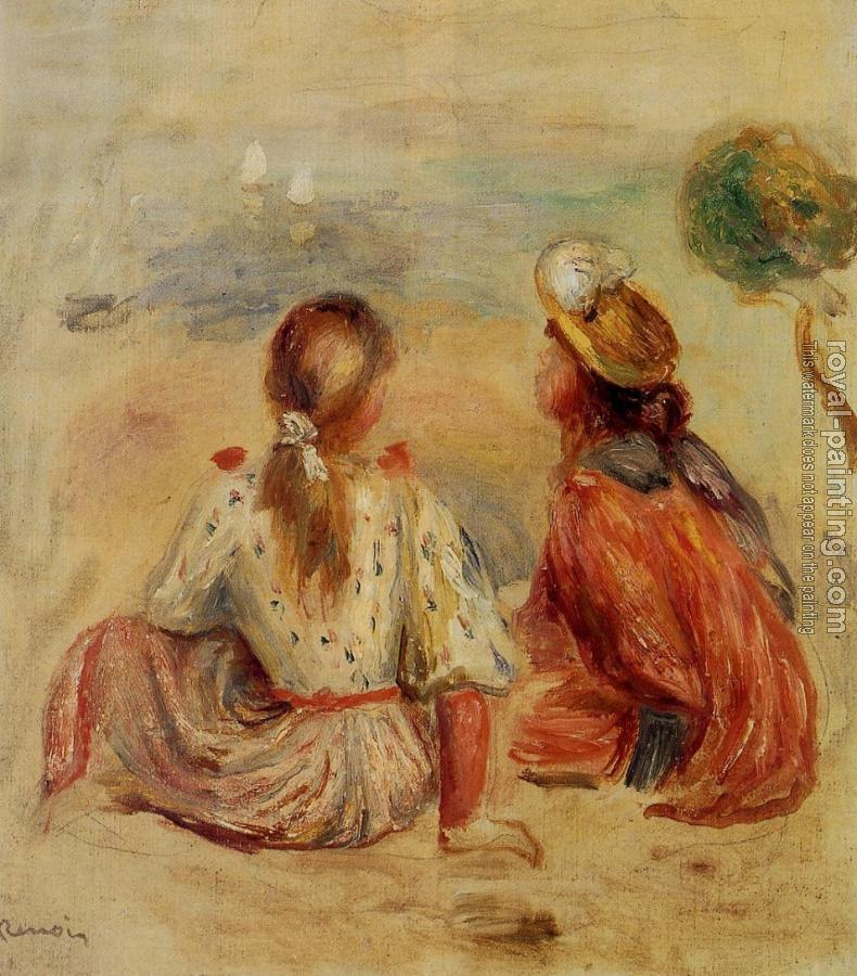 Pierre Auguste Renoir : Young Girls on the Beach