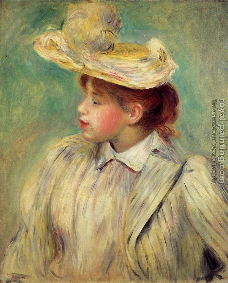 Pierre Auguste Renoir : Young Woman in a Straw Hat