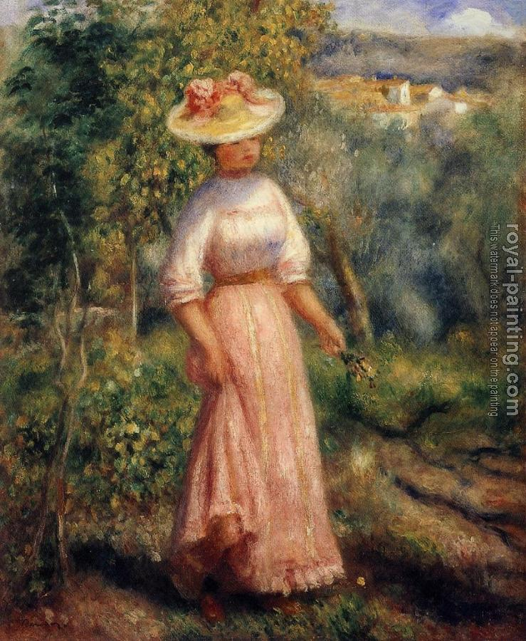 Pierre Auguste Renoir : Young Woman in Red in the Fields