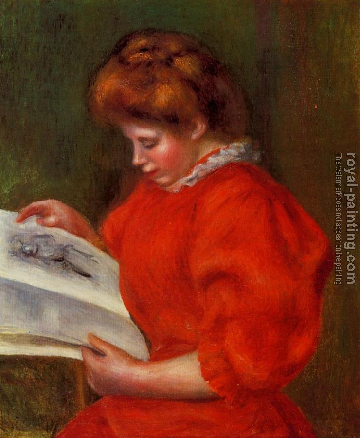 Pierre Auguste Renoir : Young Woman Looking at a Print