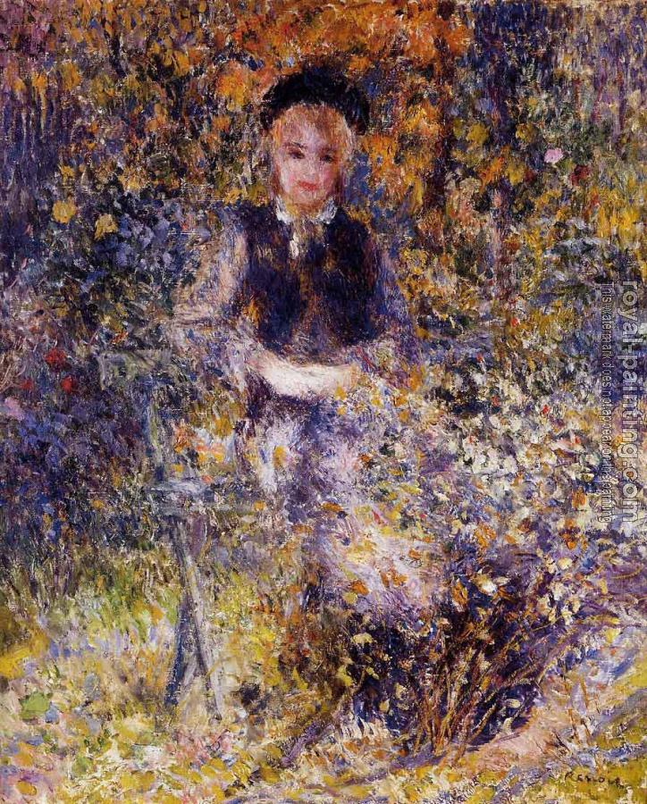 Pierre Auguste Renoir : Young Woman on a Bench