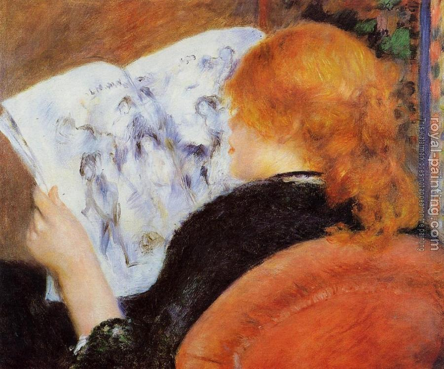Pierre Auguste Renoir : Young Woman Reading an Illustrated Journal