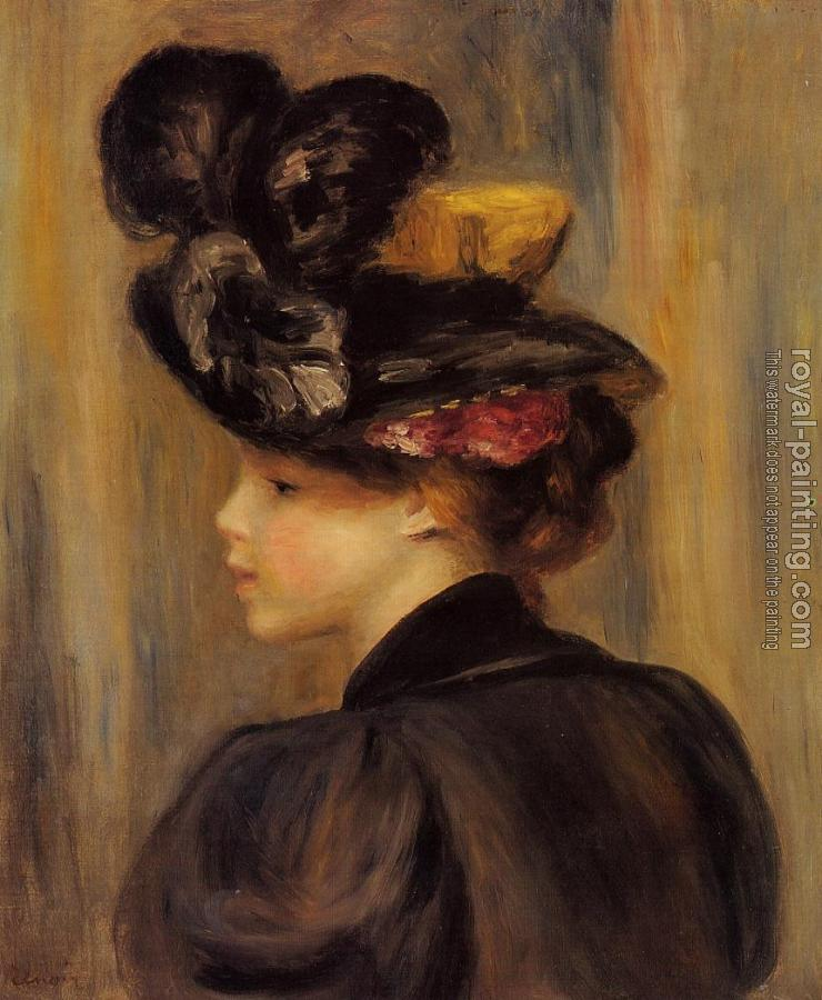 Pierre Auguste Renoir : Young Woman Wearing a Black Hat
