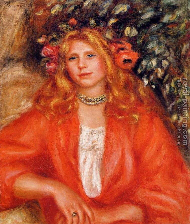 Pierre Auguste Renoir : Young Woman Wearing a Garland of Flowers