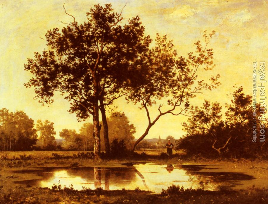 Leon Richet : Figure beside a Pool in a wooded Landscape