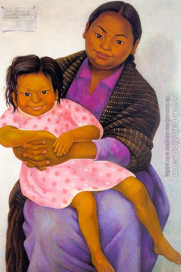 Diego Rivera : Portrait of Modesta and Inesita,Retratos de Modesta e Inesita