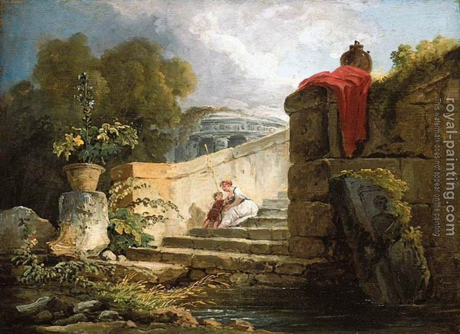 Hubert Robert : A Scene in the Grounds of the Villa Farnese Rome