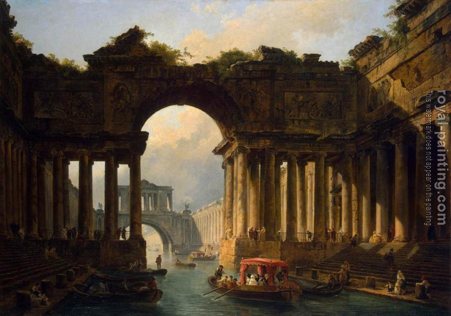 Hubert Robert : Architectural Landscape with a Canal