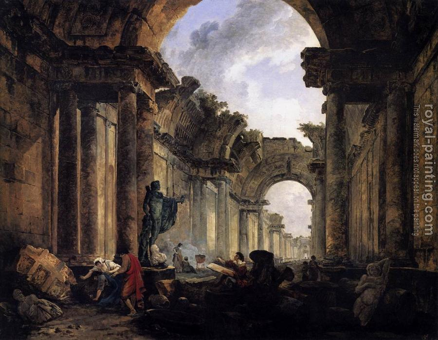 Hubert Robert : Imaginary View of the Grande Galerie in the Louvre in Ruins