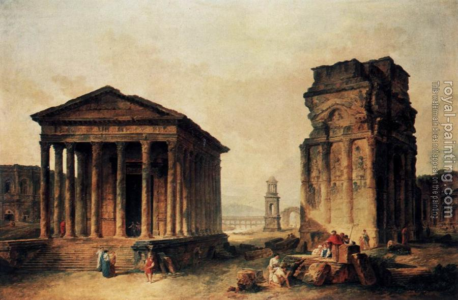 Hubert Robert : Ruins at Nimes