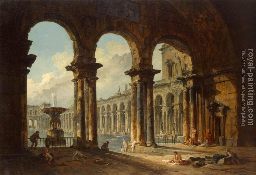 Hubert Robert : Ancient Ruins Used as Public Baths