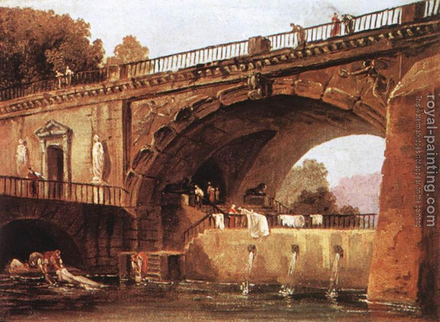 Hubert Robert : Washerwomen below a Bridge