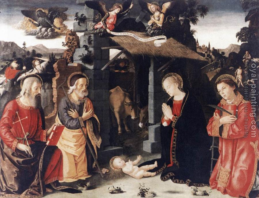 Romano Antoniazzo : Nativity with Sts Lawrence and Andrew