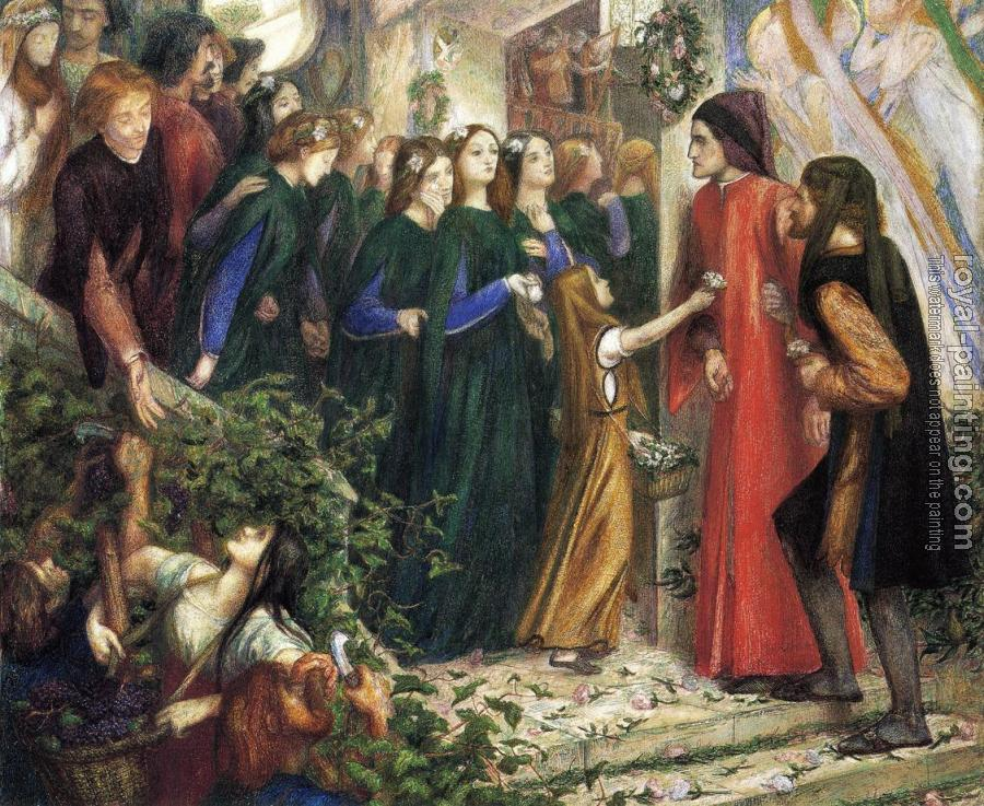 Dante Gabriel Rossetti : Beatrice, Meeting Dante at a Wedding Feast, Denies him her Salutation