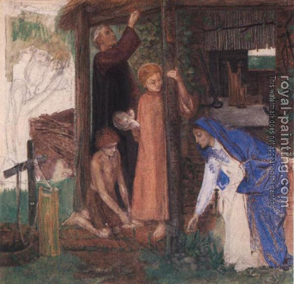 Dante Gabriel Rossetti : The Passover in the Holy Family,Gathering Bitter Herbs