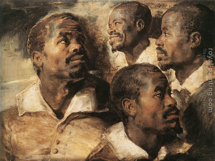 Peter Paul Rubens : Four Studies of the Head of a Negro