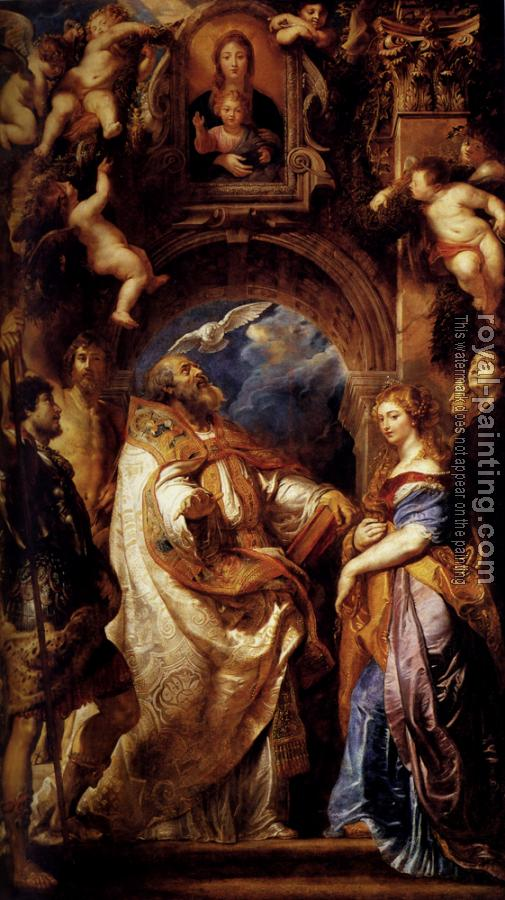 Peter Paul Rubens : Saint Gregory With Saints Domitilla, Maurus, And Papianus