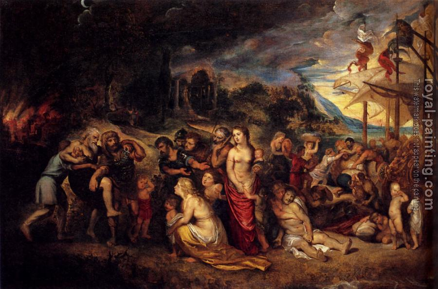Peter Paul Rubens : Aeneas And His Family Departing From Troy